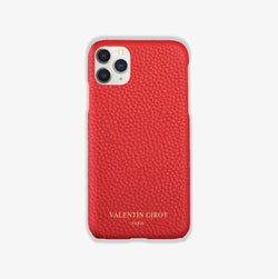 Coque iPhone 11 Pro Max cuir rouge grainé, france