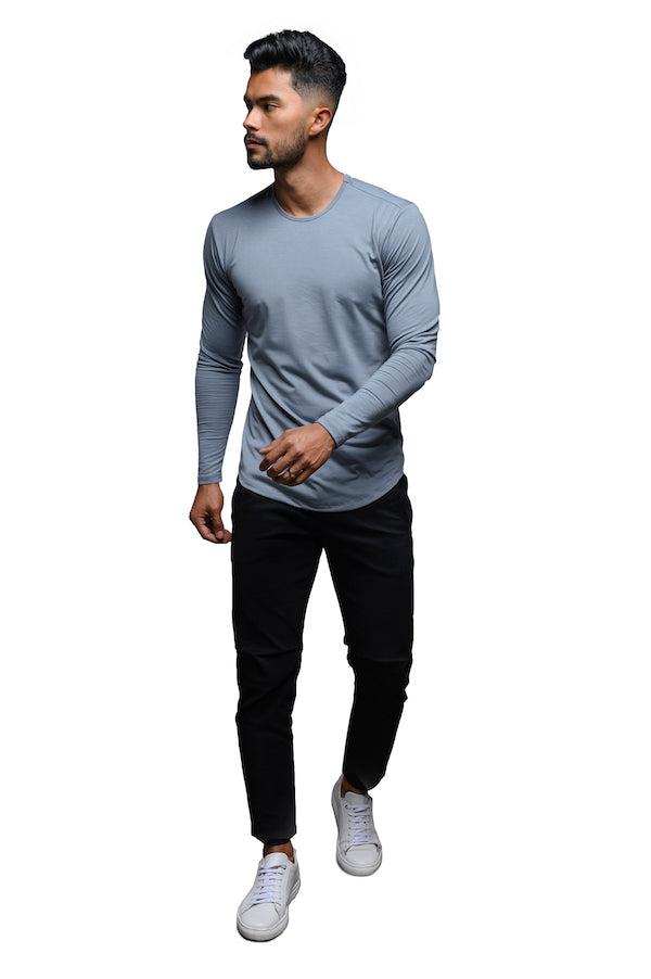 The ESNTLS Grey Blue Scoop Long Sleeve