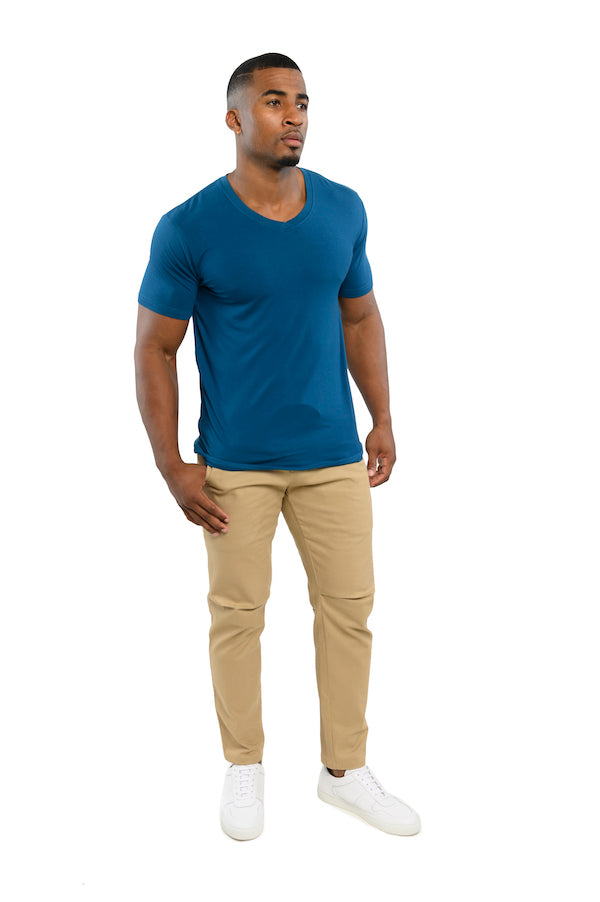 The ESNTL Grey Blue V-Neck Tee