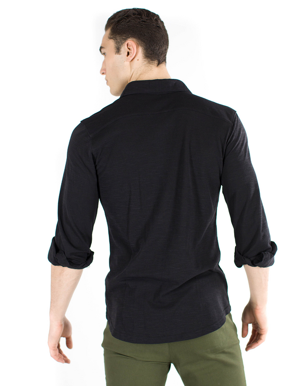 The ESNTL Black Long Sleeve Polo