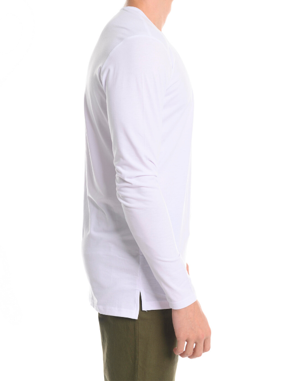 The ESNTLS White Staggered Long Sleeve