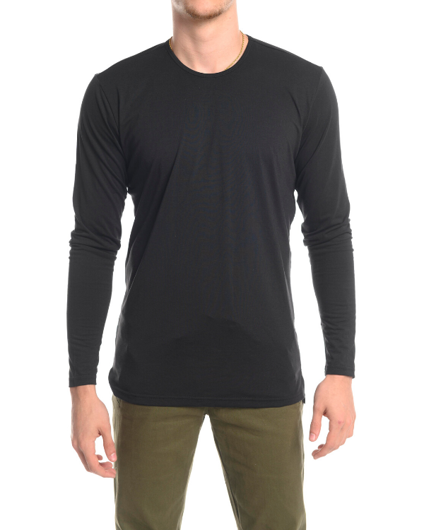 The ESNTLS Black Staggered Long Sleeve