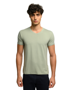 The ESNTL Sage Green V-Neck Tee