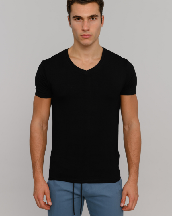 The ESNTL Black V-Neck Tee