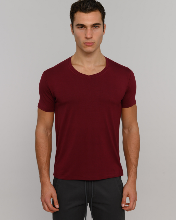 The ESNTL Burgundy V-Neck Tee