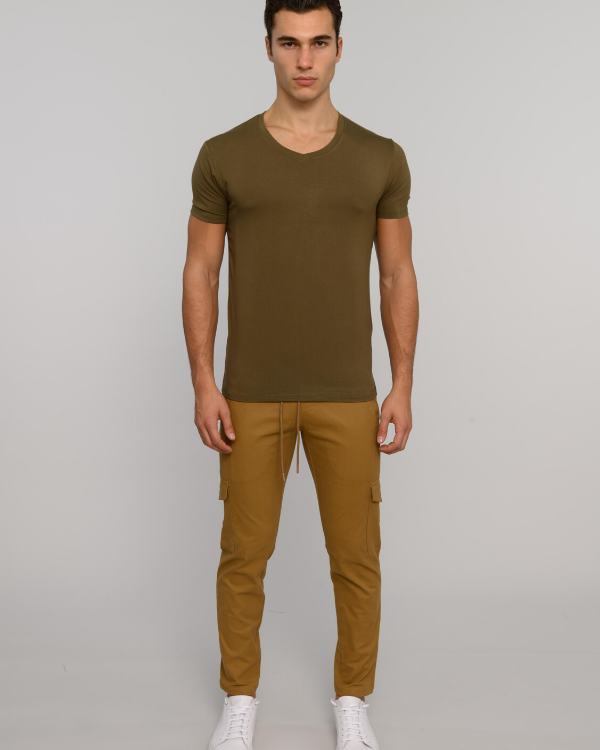 The ESNTL Olive V-Neck Tee