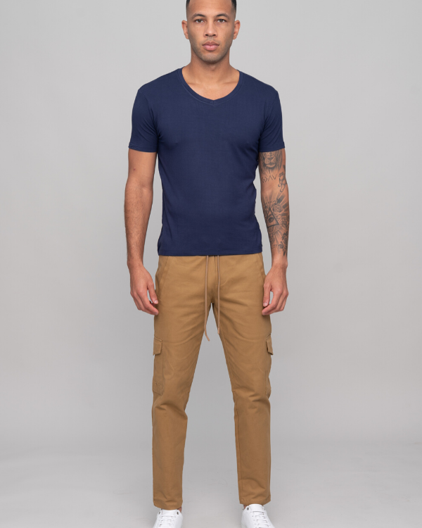 The ESNTL Navy V-Neck Tee
