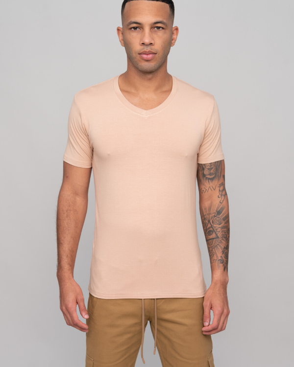 The ESNTL Camel V-Neck Tee