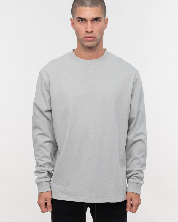 Grey Green Oversized  Long Sleeve Tee