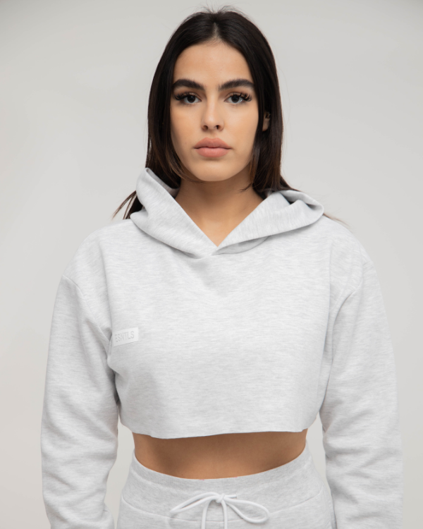 Grey Women Crop Top Hoodie