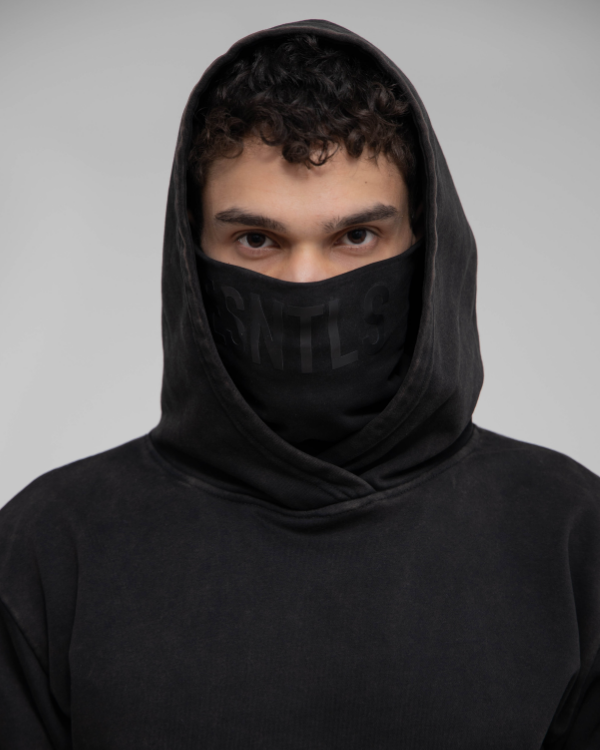 Faded Black Oversized Hoodie w Mask