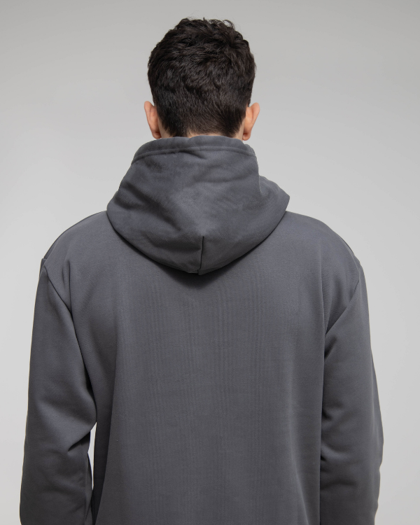 Dark Grey Oversized Hoodie w Mask