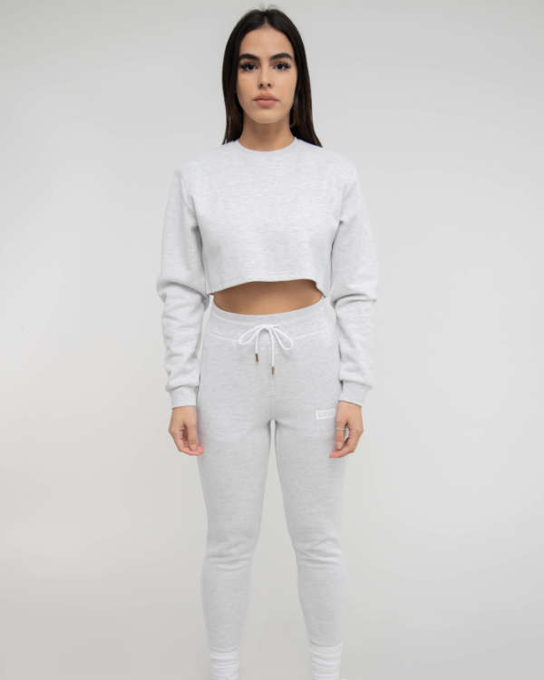 Grey Women Crop Top Sweater