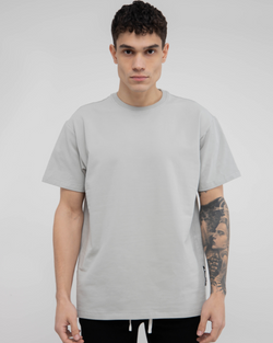 Grey Green Drop Shoulder Tee