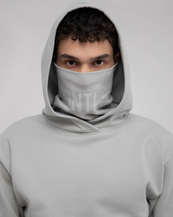Grey Green Oversized Hoodie w Mask