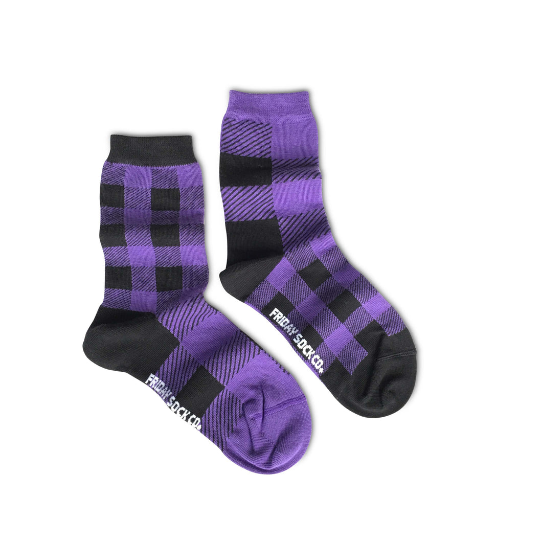 Friday Sock Co.  - Purple Plaid (Crew)