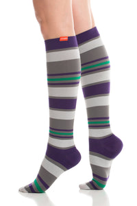 Fun Stripe Purple Grey Small Nylon 20-30 mmHg
