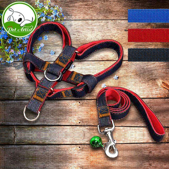 Adjustable No-Pull Jeans Dog Harnesses Leash Collar for Training Walking Running Save Harness For Small Medium Large Dog