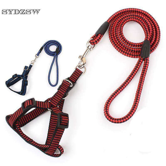 Nylon Dog Leads Puppy Pet Harness and Leash for Dogs Cats Blue Red Dog Leash Chihuahua Accessories Yorkie Pet Product
