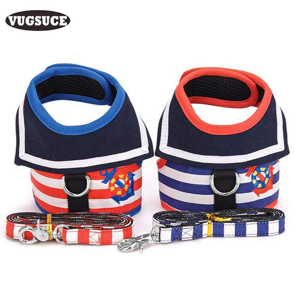 VUGSUCE Marine Sailor man The Stripe Harness Dog Leash Set Custom Breathable Dog Harness Pet Harness Vest Dog clothes Chihuahua harness dog