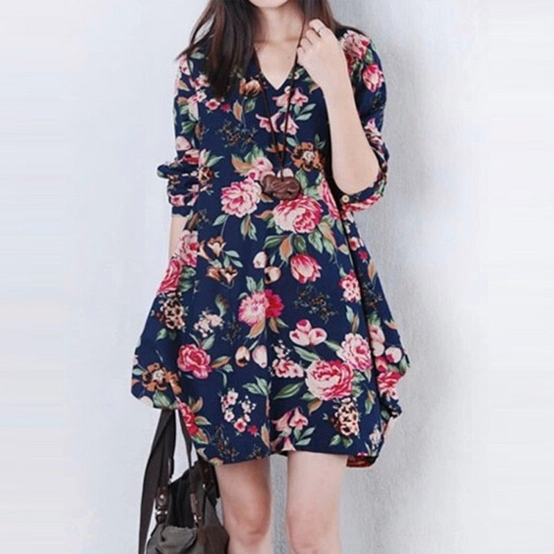 Women Vintage Floral Long Sleeve V-Neck  Maternity Dress - Raen Wear