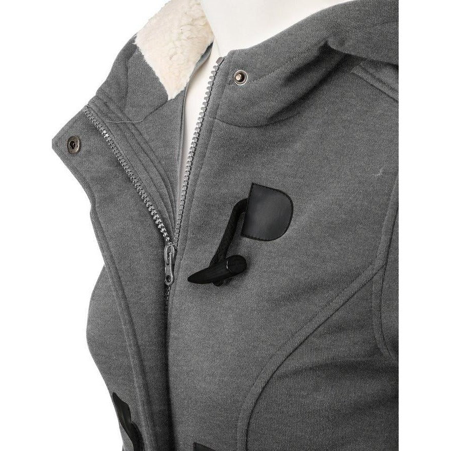 Hooded Zipper Jacket With Black Button Accents - Raen Wear