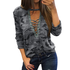 Sexy Lace Up Camouflage Shirt - Raen Wear