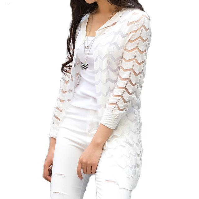 Women's Light Weight Cardigan With Chevron Pattern - Raen Wear