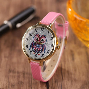 Women's Casual Leather Strap Watch With Owl Face - Raen Wear
