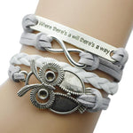 Owl Inspired  Handmade Leather Braided Bracelet - Raen Wear