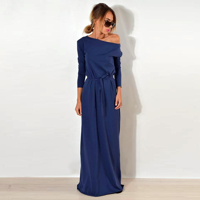One Shoulder Long Sleeve Causal Robe Long Loose Dress - Raen Wear