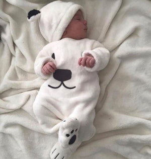 3 Piece Cuddly  Unisex Polar Bear Set For Infants - Raen Wear
