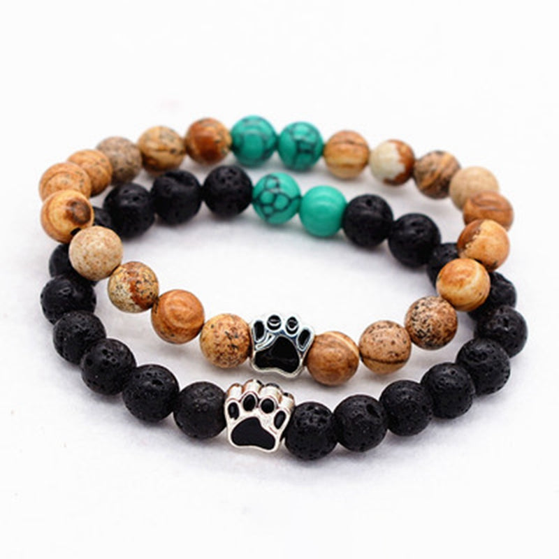 8mm Natural Lava Stone Bead  Bracelet With  Dog Paw - Raen Wear