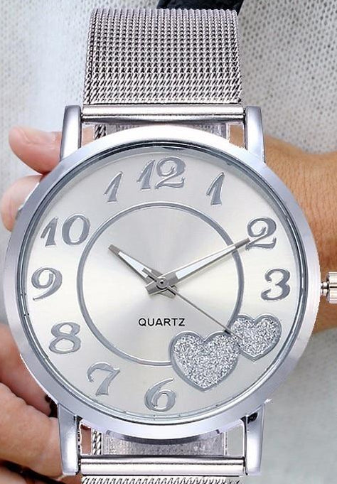 Women's Mesh Band Watch With Heart Detailing - Raen Wear