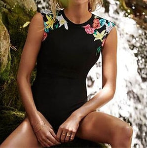 Women's Classic Black High Neck Swimsuit With Floral Detailing - Raen Wear