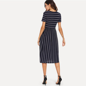 Navy Striped A-Line Dress - Raen Wear