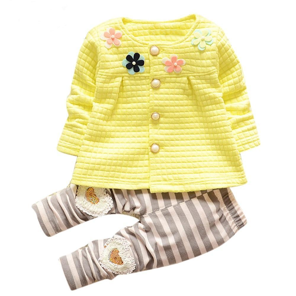 Little Girls Long Sleeve Cardigan And Pant Set - Raen Wear