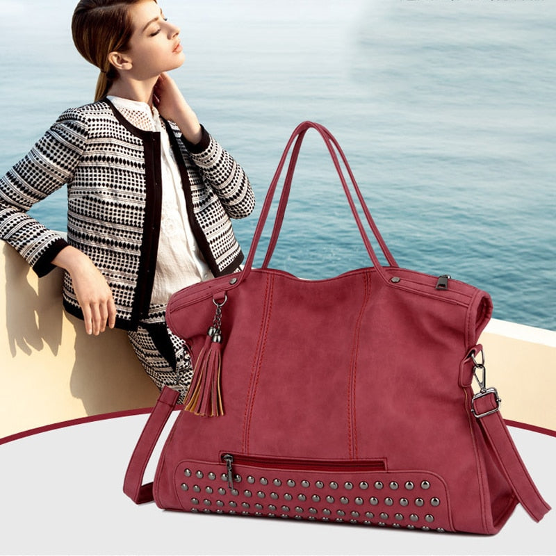 Ladies Satchel Style Handbag With Tassel and Beading Detail - Raen Wear