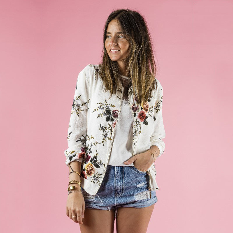 Women's Retro Floral Bomber Light Weight Jacket - Raen Wear