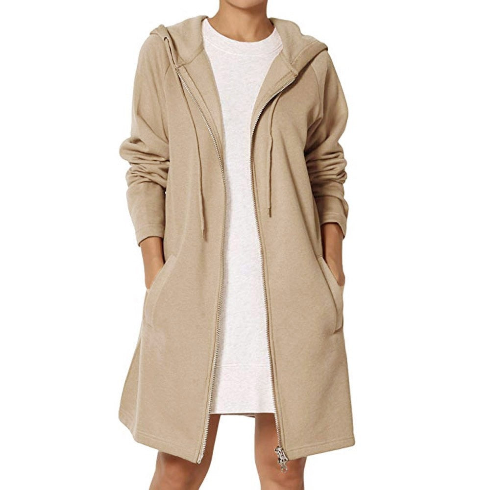 Ladies Long Loose Fit Hooded Sweatshirt Coat - Raen Wear