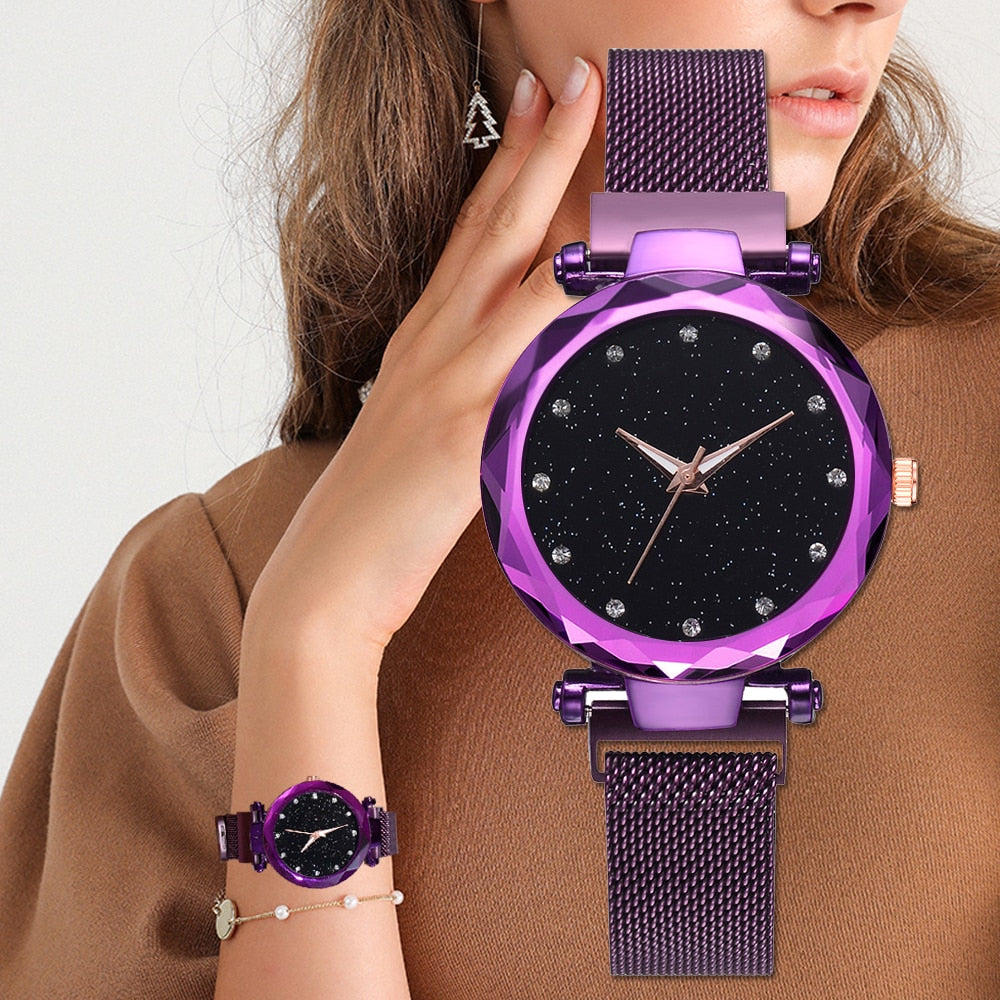 Quartz Wristwatch With Mesh Strap And Magnetic Buckle - Raen Wear