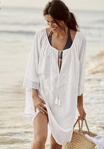 Lace Cover Up With Tassel Neck Line - Raen Wear