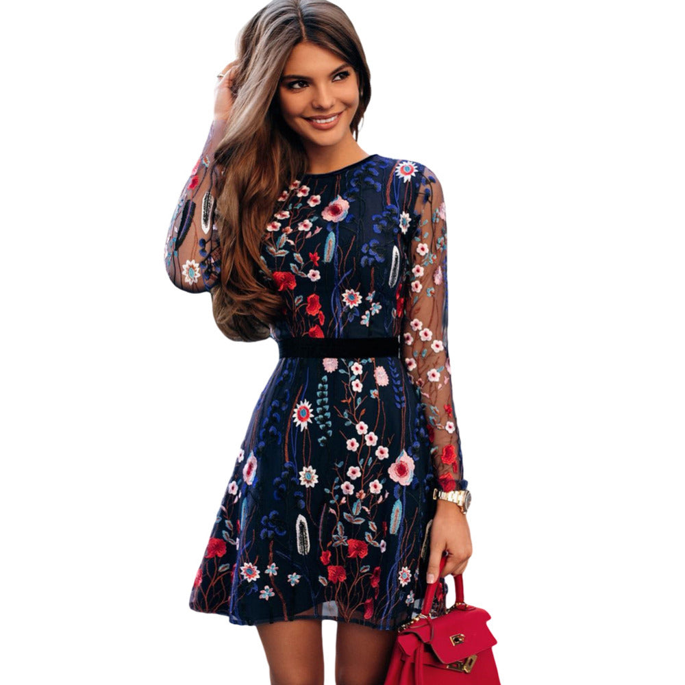 Ladies Floral Embroidered Dress With Sheer Sleeve - Raen Wear