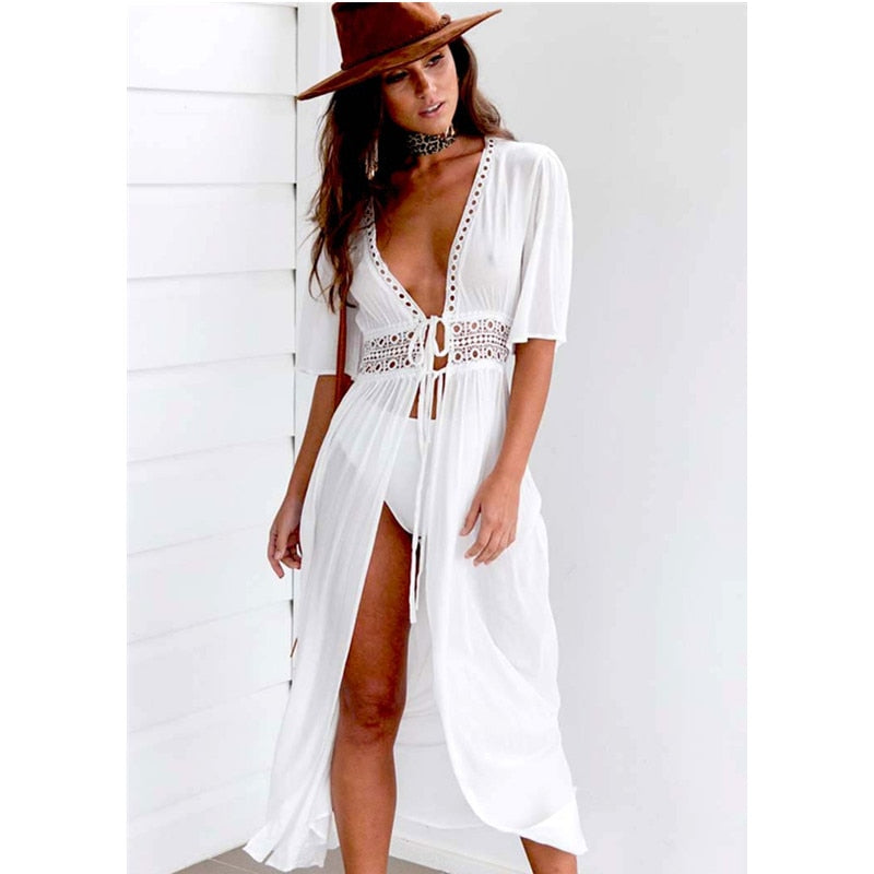 Long Dress Style Beach Cover Up With Lace Detail - Raen Wear