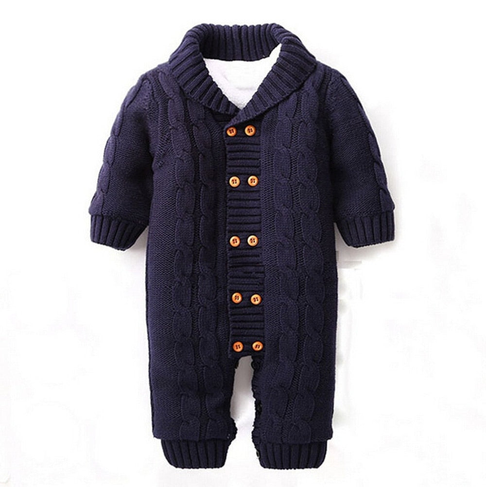 Baby Button Romper With Fleece Lining - Raen Wear