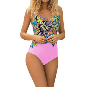 Women's Sexy One Piece Swimsuit With Solid Bottom And Patterned Top - Raen Wear