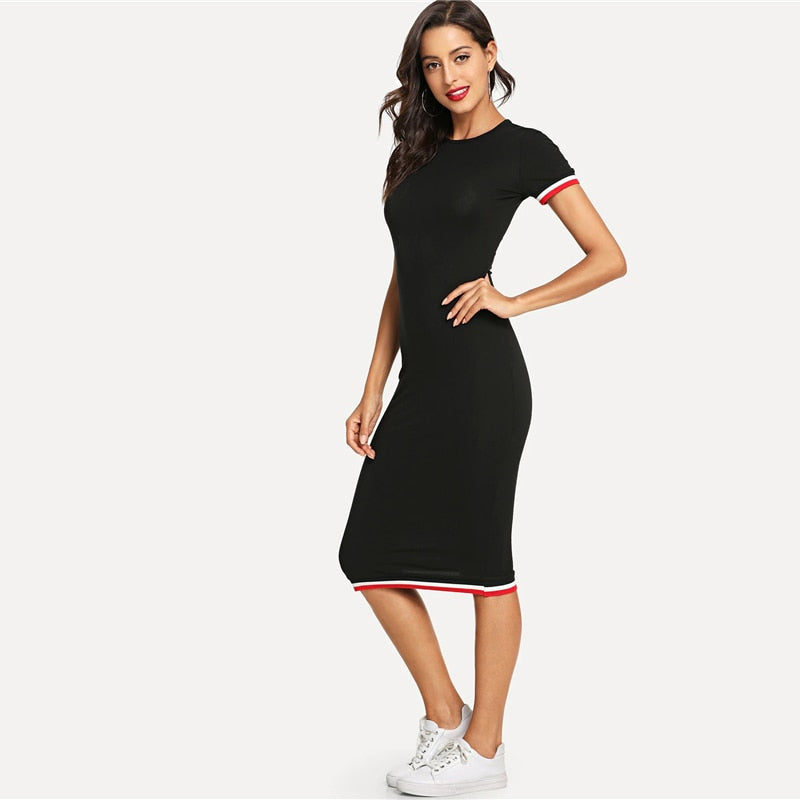 Women's Casual Black Dress With Striped Detailing - Raen Wear
