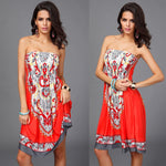 Women's Strapless Floral Print Vintage Dress - Raen Wear