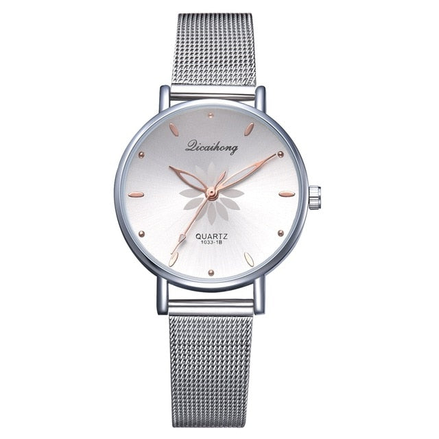 Women's Petal Dial Bracelet Quartz Wrist Watch - Raen Wear