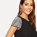 Women's Sequin Sleeve Black Blouse - Raen Wear